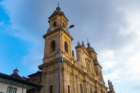 BOGOTA, COLOMBIA OCTOBER 22, 2017: Main square with church, Bolivar square in Bogota, Colombia, Latin America 에디토리얼