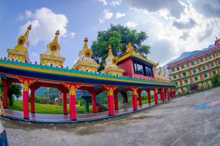 POKHARA, NEPAL - OCTOBER 06 2017: Tibet architecture. Sakya monastery is a pilgrim and tourist destination. Its religious structure is influenced by Mongol style, fish eye effect Editorial