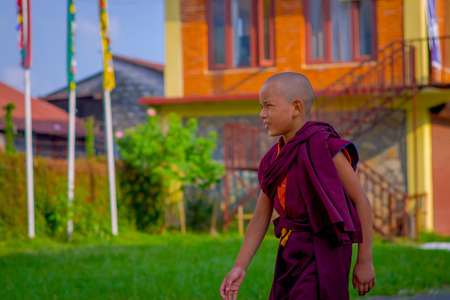POKHARA, NEPAL - OCTOBER 06 2017: Unidentified Buddhist monk boy walking at outdoors at the Tashi refugee settlement in Pokhara, Nepal Editorial