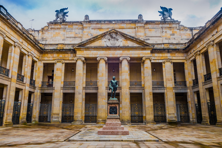 BOGOTA, COLOMBIA OCTOBER 22, 2017: Beautiful bronze sculpture at courtyard of Colombian Capitol and Congress, Bogota Sajtókép