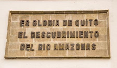 QUITO, ECUADOR NOVEMBER, 28, 2017: Informative sign at outdoors at historical center of old town Quito, Ecuador