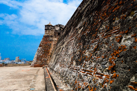 Historic castle of San Felipe De Barajas on a hill overlooking the Spanish colonial city of Cartagena de Indias on the coast of Colombia