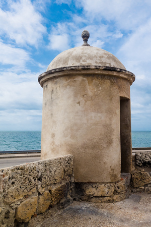 View of dome of historic castle of San Felipe De Barajas on a hill overlooking the Spanish colonial city of Cartagena de Indias on the coast of Colombia Stock Photo