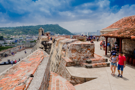 CARTAGENA, COLOMBIA 22, 2017: Unidentified people walking in the historic castle of San Felipe De Barajas on a hill overlooking the Spanish colonial city of Cartagena de Indias on the coast of Colombia