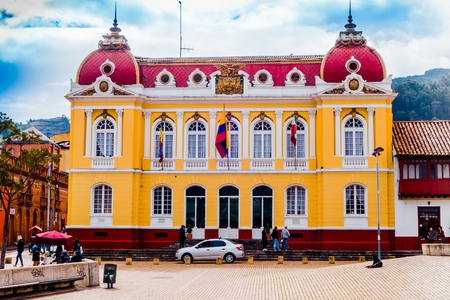 ZAPAQUIRA, COLOMBIA OCTOBER, 27, 2017: Unidentified people walking in the Zipaquira Town Hall at main square located in Zipaquira, Colombia