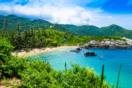 Beautiful view of beach at Cabo San Juan,Tayrona Natural National Park, Colombia