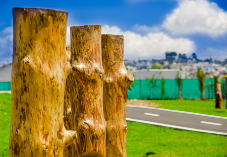Beautiful outdoor view of wooden sticks in the park of new boulevar with a Bikeway behind, in Amazonas avenue, in the city of Quito