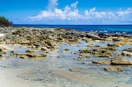 Amazing beautiful view of rocks in San Andres Island from Johnny Cay in a gorgeous sunny day in Colombia