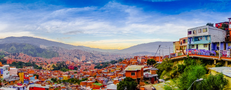 MEDELLIN, COLOMBIA , NOVEMBER, 30, 2017: Panoramic view of the rooftops of the buildings in the city of Medellin Antioquia in a gorgeus beautiful sunset in Colombia
