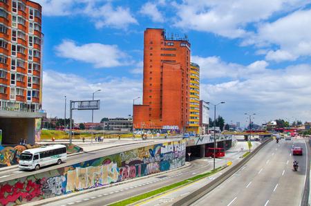 BOGOTA, COLOMBIA - OCTOBER, 22, 2017: Outdoor view of El Dorado Avenue in the city of Bogota Editorial