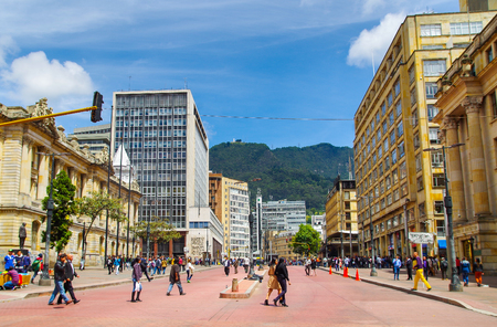 BOGOTA, COLOMBIA - OCTOBER, 11, 2017: Unidentified people walking in the streets of Jimenez avenue in Bogota