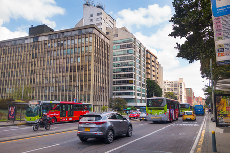 BOGOTA, COLOMBIA - OCTOBER, 11, 2017: Bogota cityscape, the Carrera 5 5th street and the BD Bacata Building in Bogota