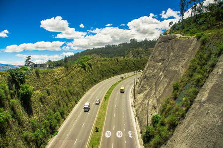 Aerial view of highway in the mountains to visit the municipal dump in the city of Quito, Ecuador