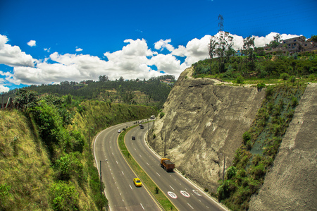 Aerial view of road in the mountains to visit the municipal dump in the city of Quito, Ecuador