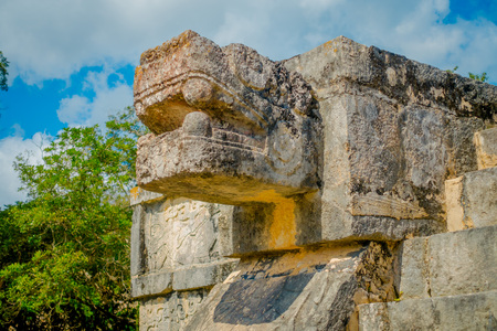 Snake Mayan Sculpture in the city of Chichen Itza, Yucatan, Mexico, one of the most visited archaeological sites in Mexico