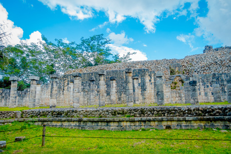 Beautiful outdoor view of Chichen Itza Mayan ruins in Mexico