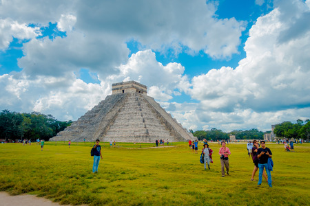 CHICHEN ITZA, MEXICO - NOVEMBER 12, 2017: Chichen Itza, one of the most visited archaeological sites in Mexico. About 1.2 million tourists visit the ruins every year Editorial