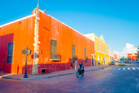 VALLADOLID, MEXICO - NOVEMBER 12, 2017: Outdoor view of a colorful buildings in a Mexican street. Valladolid city center in Mexico