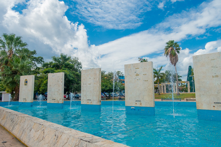 PLAYA DEL CARMEN, MEXICO JANUARY 01, 2018: Outdoor view of many stoned structures inside of artifical fountain located in palza 28 de Julio in Playa del Carmen, Riviera Maya, Mexico Editorial