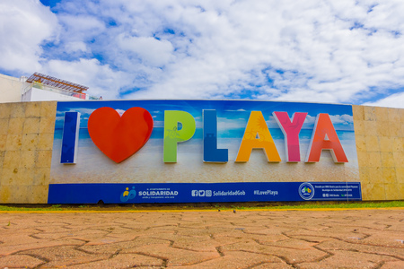 PLAYA DEL CARMEN, MEXICO JANUARY 01, 2018: Outdoor view of huge words of I love playa at the enter of the city in Playa del Carmen, Riviera Maya, Mexico Editorial