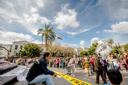 QUITO, ECUADOR, JANUARY 11, 2018: Unidentified people during a protest in the plaza grande in the city of Quito, demanding for an explanation of their relatives missing