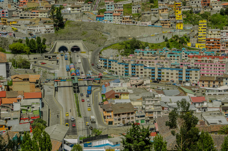 QUITO, ECUADOR, FEBRUARY 02, 2018: Outdoor view of high view of the city of Quito and some buildings, with San Juan tunnel in San Juan area town