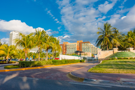 CANCUN, MEXICO - JANUARY 10, 2018: Outdoor view of the enter of Hard Rock Cafe in Cancun at the Forum center in Cancuns hotel zone Editorial