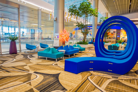 SINGAPORE, SINGAPORE - JANUARY 30, 2018: Gorgeous indoor view of beautiful blue abstract art located in a lounge area inside of Changi international airport Editorial