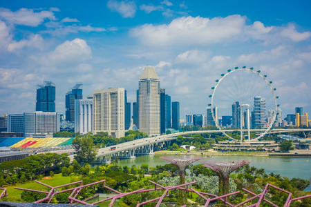 SINGAPORE, SINGAPORE - FEBRUARY 01, 2018: Outdoor view of Singapore Flyer - the Largest Ferris Wheel in the World with a bridge and huge buildings in the horizont, located in Singapore