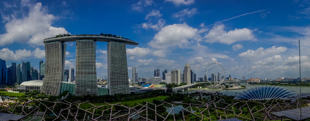 SINGAPORE, SINGAPORE - JANUARY 30, 2018: Beautiful panoramic view of three towers of the Marina Bay Sands Ressort against a cloudy sky, the worlds most expensive standalone casino at the time of opening in 2010, in Singapore