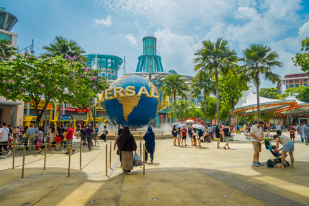 SINGAPORE, SINGAPORE - FEBRUARY 01, 2018: Unidentified people at the enter of Universal Studios Singapore is a theme park located within Resorts World Sentosa on Sentosa Island, Singapore 에디토리얼