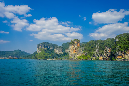 Outdoor view of many beautiful islands near Railay beach with blue sky in Krabi province in the Andaman sea in south Thailand