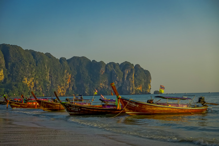 AO NANG, THAILAND - MARCH 05, 2018: Outdoor view fishing thai boats at Po-da island, Krabi Province, Andaman Sea, South of Thailand