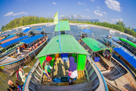 AO NANG, THAILAND - MARCH 05, 2018: Beautiful above view of fishing thai boats at the shore of Po-da island, Krabi Province, Andaman Sea, South of Thailand