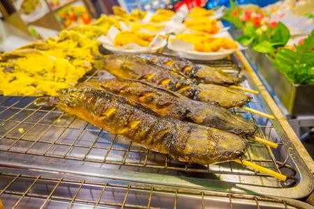 Close up of fish grilled located at Street food stalls on Nopparat Thara Road in AO NANG