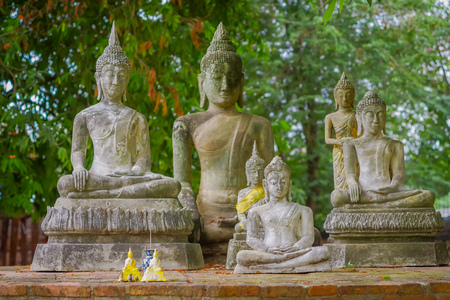 Outdoor view of Sukhothai historical park the old town of Thailand Ancient Buddha Statue at Wat Mahathat in Sukhothai Historical Park,Thailand Stock Photo