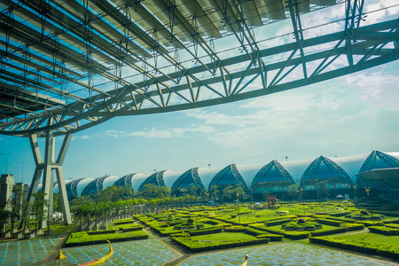 Outdoor view of relaxing park located at Suvarnabhumi Airport is the worlds third largest single-building airport terminal in Bangkok, Thailand Stock Photo