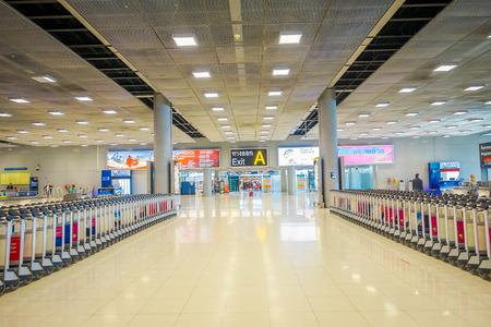 BANGKOK, THAILAND - FEBRUARY 08, 2018: Indoor view of baggage carts at Suvanaphumi Airport, Bangkok, Suvarnabhumi airport is worlds 4th largest single-building airport terminal
