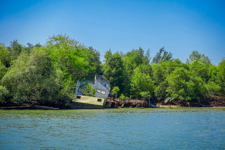 Outdoor view of destroyed house at mangroves in Krabi Province, Andaman Sea, South of Thailand 写真素材