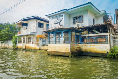 Floating poor house on the Chao Phraya river. Thailand, Bangkok.