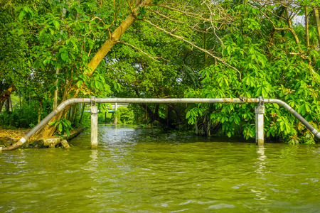 Outdoor view of pipeline on the Chao Phraya river. Thailand, Bangkok Stock Photo