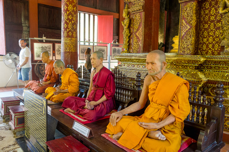 CHIANG MAI, THAILAND, MARCH 06, 2018: Amazing view of wax statue of Buddhist monk in the temple