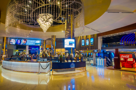 BANGKOK, THAILAND, FEBRUARY 02, 2018: Gorgeous indoor view of Siam Paragon shopping mall. With 16 screens and 5,000 seats, the Cineplex is Thailands largest movie