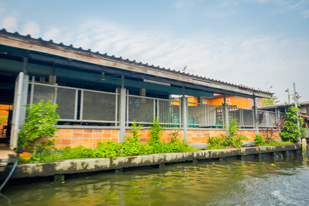 Outdoor view of house in the border of the Chao Phraya river. Thailand, Bangkok