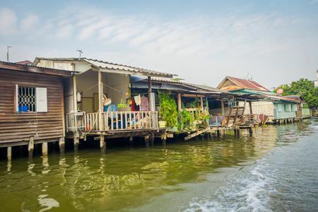 Floating poor house on the Chao Phraya river. Thailand, Bangkok Stock fotó