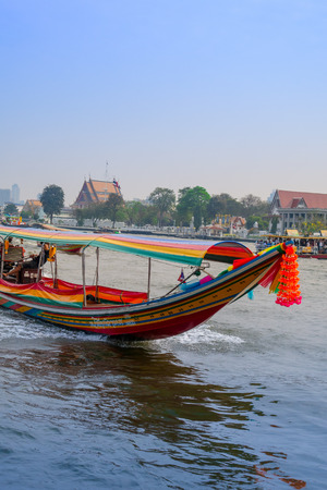 BANGKOK, THAILAND - FEBRUARY 09, 2018: Outdoor view of turist enjoying the trip in a long tail boat at yai canal or Khlong Bang Luang Tourist Attraction in Thailand