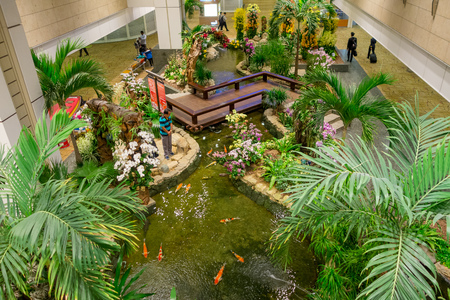 SINGAPORE - CIRCA MARCH, 23, 2018: Above view of people walking in a small garden with plants inside of Singapore Changi Airport. Singapore Changi Airport is the primary civilian airport Editorial