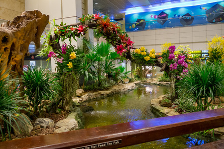 SINGAPORE - CIRCA MARCH, 23, 2018: Indoor view of people walking in a small garden with plants inside of Singapore Changi Airport. Singapore Changi Airport is the primary civilian airport