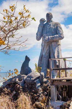 charles darwin statue in san cristobal island galapagos