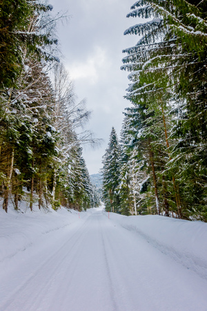 Outdoor view of winter road covered with snow and ice in the forest of Norway